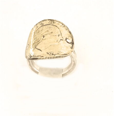Sterling silver ring with original coin 200 Lire of 1987