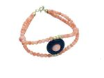 Pink coral and black agate bracelet with 18kt gold