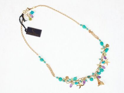 Turquoise and gold necklace with amethyst and peridot