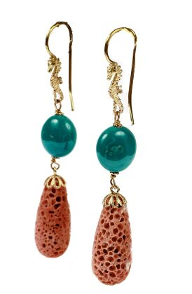 Earrings in coral and turquoise and gold 18 kt