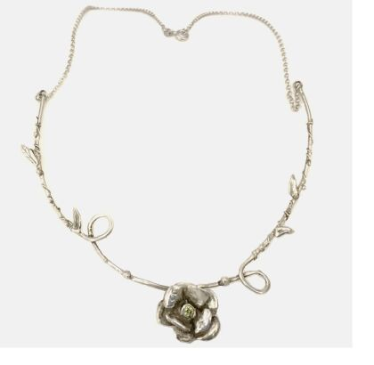 necklace  rose in sterling silver with cubic zirconia