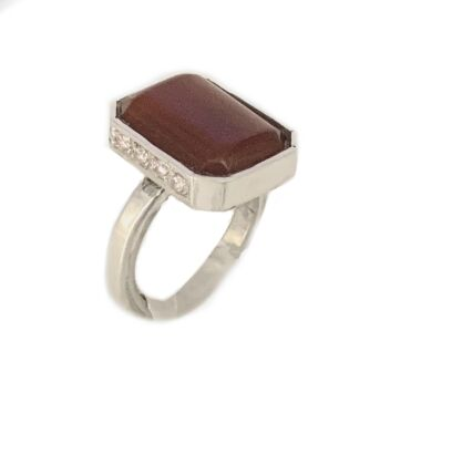 ring in agate corniola with cubic zirconia