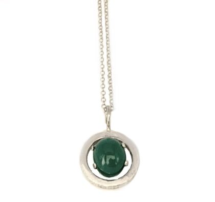 Silver pendant with green agate