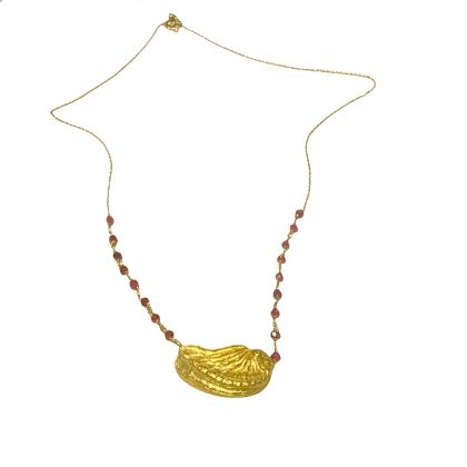 Gold necklace  shell 18 kt with rubin